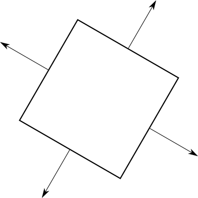 Figure 12-8: A cube viewed from above, with arrows on each triangle pointing out