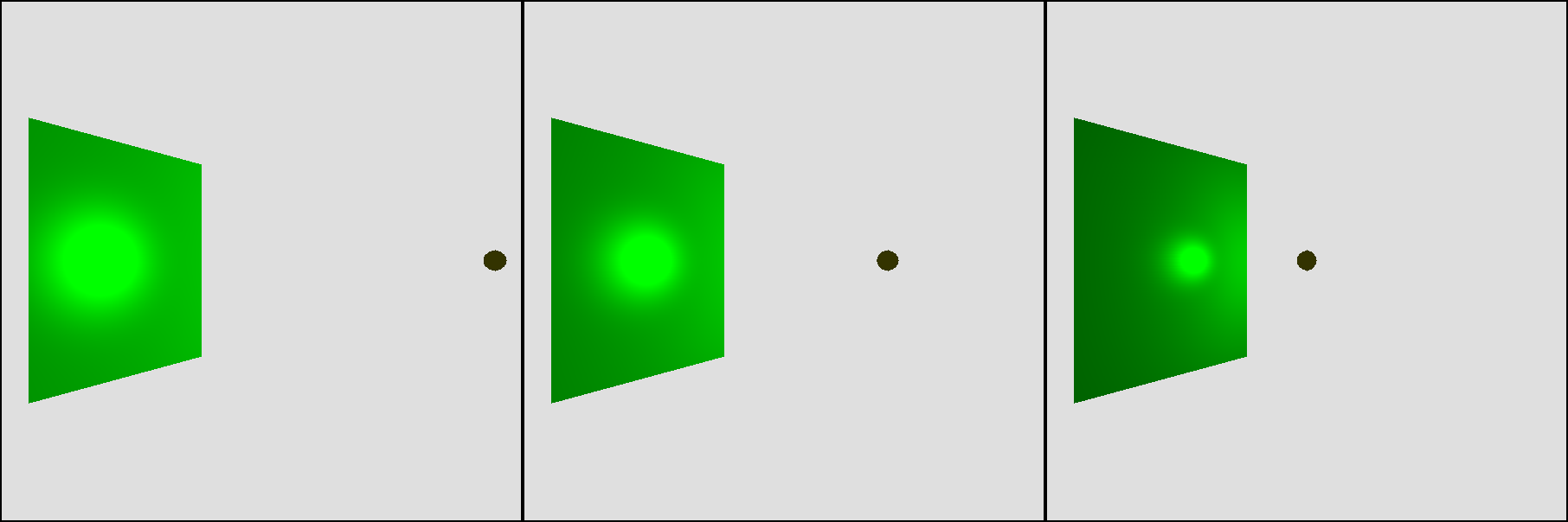Figure 13-10: The closer the light is to the surface, the brighter and better defined the specular highlight looks.