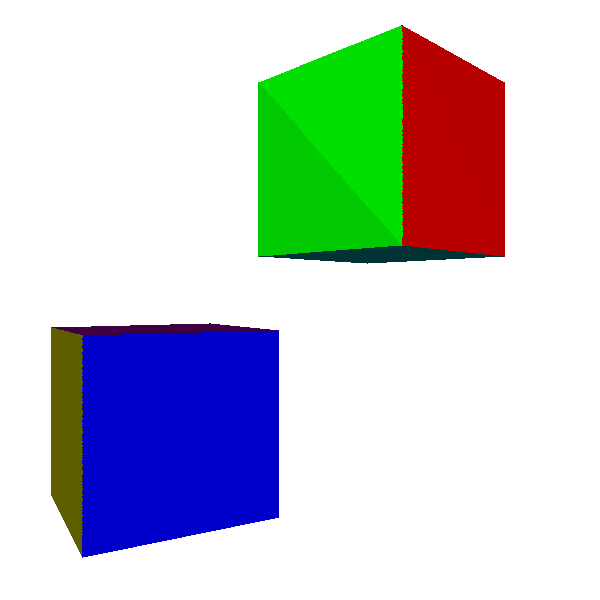 Figure 13-1: In flat shading, we compute illumination at the center of the triangle and use it for the entire triangle.