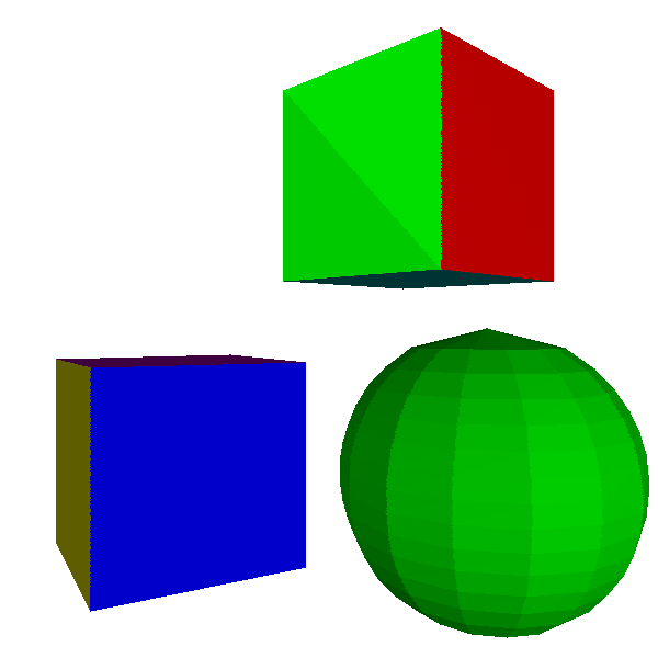 Figure 13-2: Flat shading works reasonably well for objects with flat faces, but not so well for objects that are supposed to be curved.