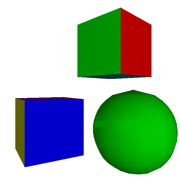 Figure 13-6: Gouraud shading with normal vectors specified in the model. The cubes still look like cubes, and the sphere now looks like a sphere.