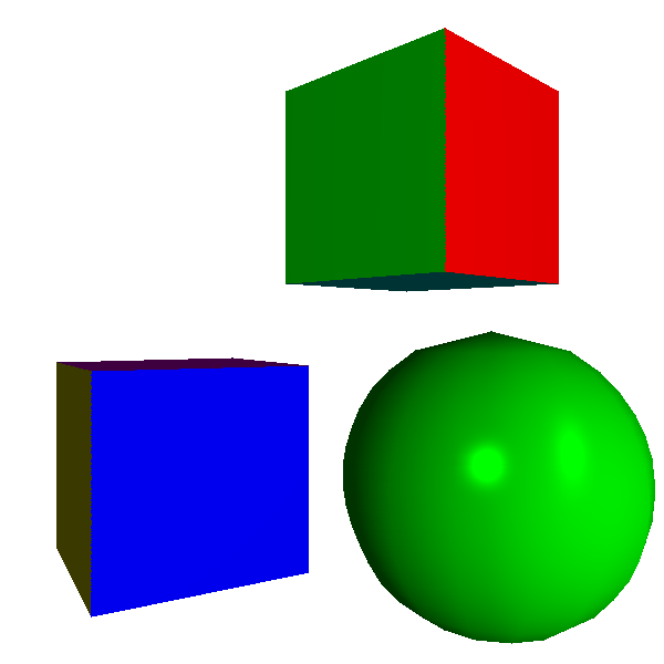 Figure 13-9: Phong shading. The surface of the sphere looks smooth and the specular highlight is clearly visible.